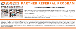 A graphic for Southshore Managed IT's new referral program representing how our Portage managed IT company can help you and your business.